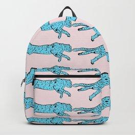 blue cheetah pink Backpack