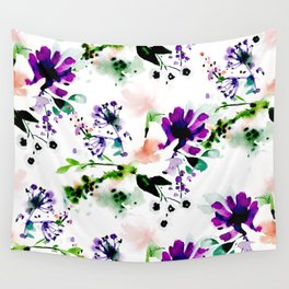 Abstract watercolor flowers purple Wall Tapestry