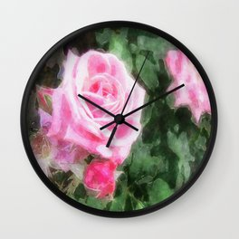 Pink Roses in Anzures 1 Watercolor Wall Clock