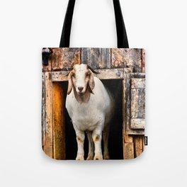 Goat Standing in Barn Loft Doorway Tote Bag