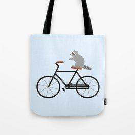 Raccoon Riding Bike Tote Bag