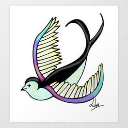Black swallow odl school Art Print