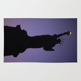 Statue of Liberty Silhouette at Dusk Photograph Rug