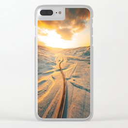 iceland road aerial view Clear iPhone Case