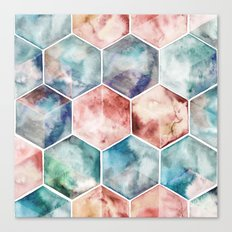 Earth and Sky Hexagon Watercolor Canvas Print