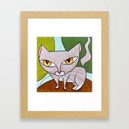 Sweet Gray Kitty Framed Art Print