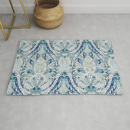 Green Blue Leaf Flower Paisley Rug