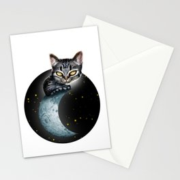 CAT ON THE MOON Stationery Cards