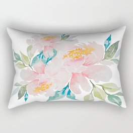 Watercolor Peony Rectangular Pillow