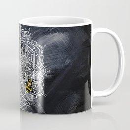Bee Dance Mandala A -Textured Titanium Coffee Mug