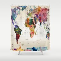 abstract Shower Curtains featuring map by mark ashkenazi