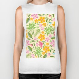 Abstract sunshine yellow pink tropical floral Biker Tank