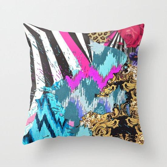 Fashion | Chic aztec pink teal zebra stripes leopard pattern Throw Pillow