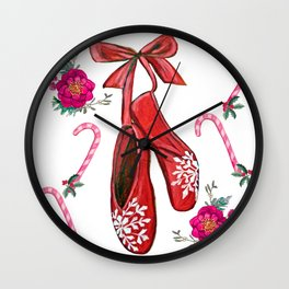 Christmas Ballet shoes, candy canes, poinsettia and holly holiday art Wall Clock