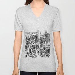 New York scribble style!! Unisex V-Neck