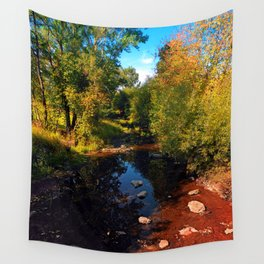 River scene at the end of summer Wall Tapestry