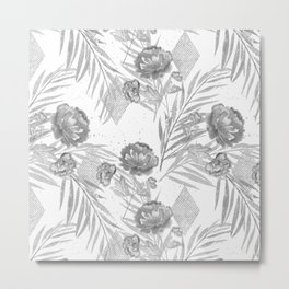 Gray flowers on a white background. Metal Print