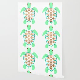 Sea turtle green pink and metallic accents Wallpaper