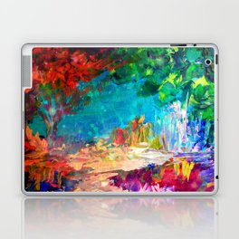 WELCOME TO UTOPIA Bold Rainbow Multicolor Abstract Painting Forest Nature Whimsical Fantasy Fine Art Laptop & iPad Skin