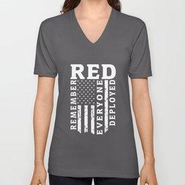 red remeber everypne deployed red friday amerca Unisex V-Neck