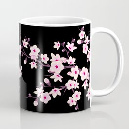 Cherry Blossoms Pink Black Coffee Mug
