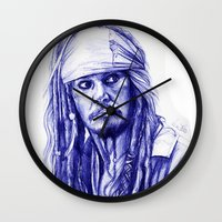 jack sparrow Wall Clocks featuring Jack Sparrow by Luna Perri