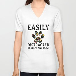 earily distracted by jeep and dogs t-shirts Unisex V-Neck