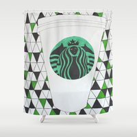 starbucks Shower Curtains featuring Starbucks Mermaid  by Clawson Creatives