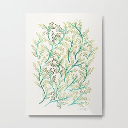 Green & Gold Branches Metal Print