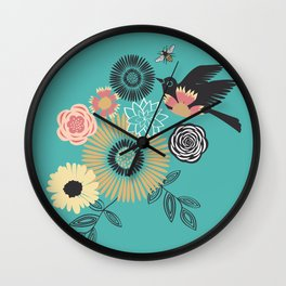 Birds & Bees - Turquoise Wall Clock