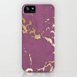 Plum Gold Marble iPhone Case