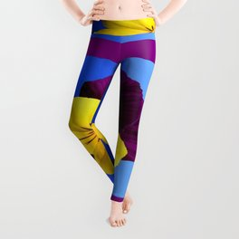 Decorative Shaded Blur Yellow-Purple Violas Art Leggings