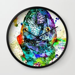 Chameleon Front View Grunge Wall Clock