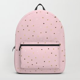 Simple Christmas seamless pattern Golden Confetti on Pastel Pink Background Backpack
