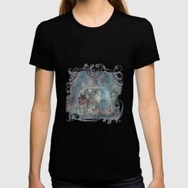 Elephant Ethnic Style Pattern Teal and Copper T-shirt