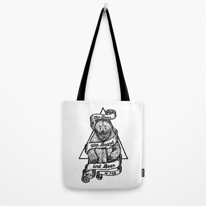 The Bear with Beard and Beer Tote Bag