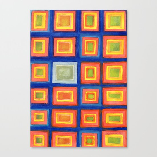 Square Pattern Beaming with Luminous Color Canvas Print