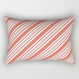 Pantone Living Coral Thick and Thin Angled Lines (Stripes) Rectangular Pillow