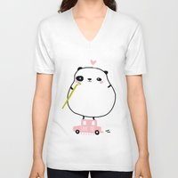 pandas V-neck T-shirts featuring save pandas by Sucoco