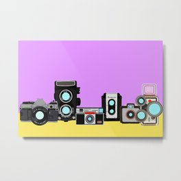 Cameras Lavender and Yellow Metal Print