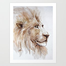 Wise lion Art Print