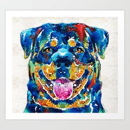 Colorful Rottie Art - Rottweiler by Sharon Cummings Art Print