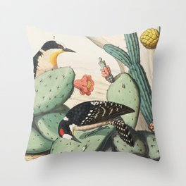 Woodpeckers And Cacti Throw Pillow