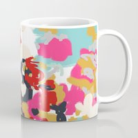 cello Mugs featuring Inez - Modern Abstract painting in bold colors for trendy modern feminine gifts ideas  by CharlotteWinter