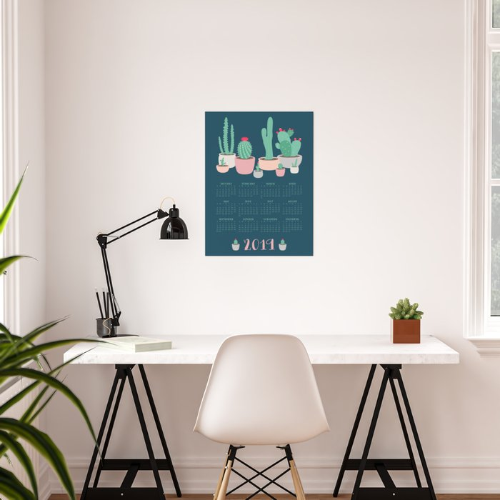 2019 Desert Dreams Cactus Calendar Poster