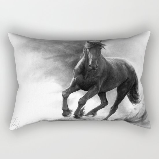 Horse in Storm - GRAPHITE DRAWING Rectangular Pillow