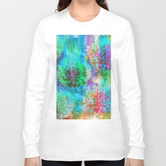 Colorful Dahlias Q Long Sleeve T-shirt