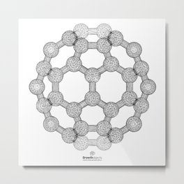 GEOMETRIC NATURE: MOLECULAR SOCCER w/b Metal Print
