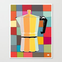 Retro Espresso Pot on Mid Century Palette Background Canvas Print