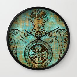 Elephants Lotus Flower Mandala Indian Spiritual Bohemian Zen Meditation Wall Clock